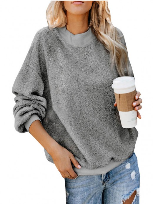 Simplicity Gray Sweater Crew Neck Full Sleeve Smooth
