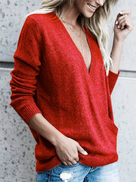 Premium Red Sweater Deep-V Neck Solid Color Superior Comfort