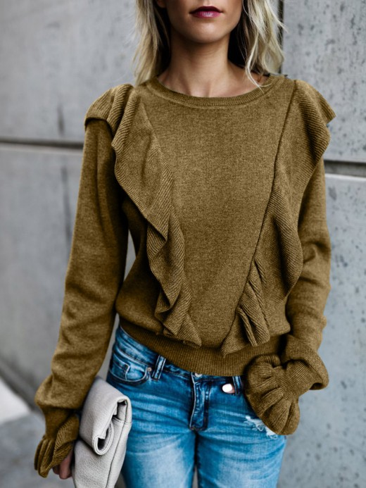Enthusiastic Brown Long Sleeve Sweater Ruffle Trim Lady Clothing