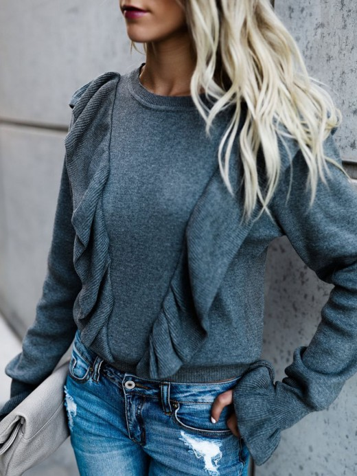 Mysterious Gray Ruffle Detail Sweater Round Collar For Female