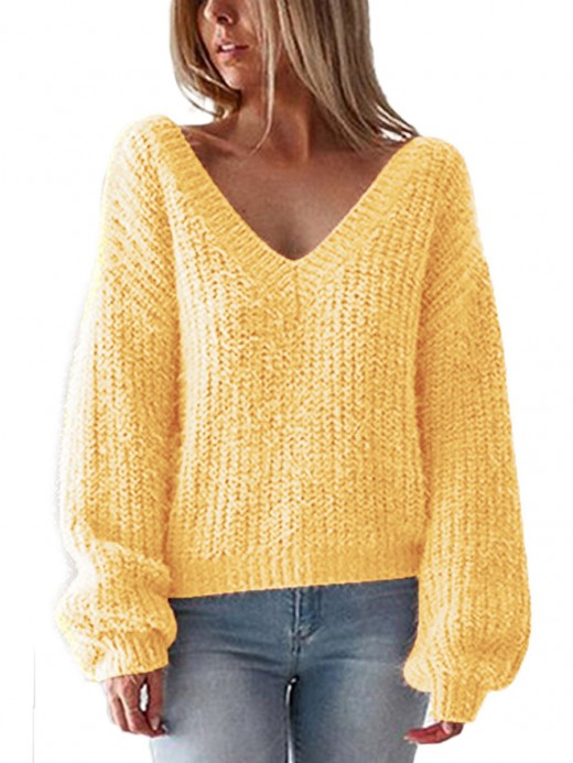 Chic Yellow Open Back Sweater Solid Color Cool Fashion