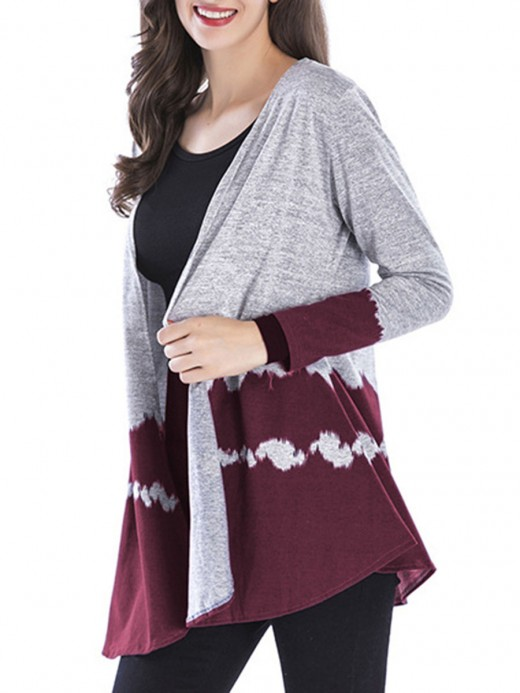 Homely Wine Red Knit Cardigan Full Sleeve Mini Length Tops For Women