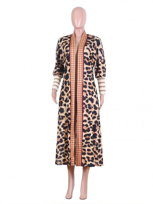 Eye Catching Colorblock Leopard Cardigan Full Sleeves Natural Outfit