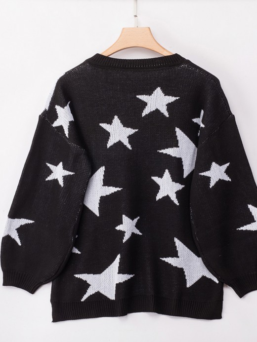 Sparkling Black V Neck Loose Knit Sweater Full Sleeve Elegance