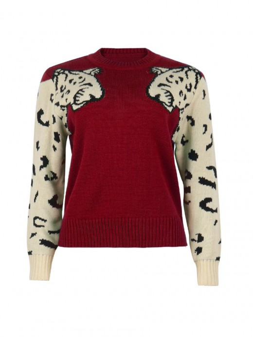 Royal Red Long Sleeve Knit Sweater Round Neck Women's Clothing