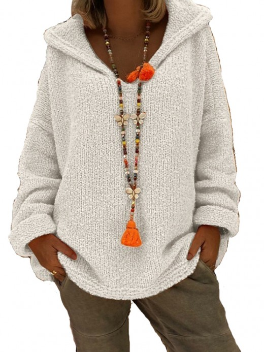 Alluring White Solid Color Sweater Hooded Collar Regular Fit
