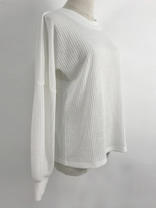 Striking White Pure Color Lantern Sleeves Sweater Charming Fashion
