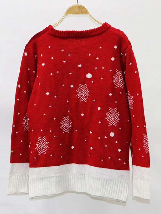 Gorgeously Red Full-Sleeved Christmas Print Sweater Simplicity