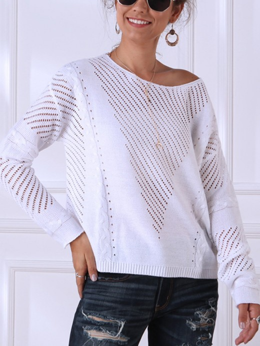 Enthralling White Round Collar Hollow Out Sweater Loose Fit