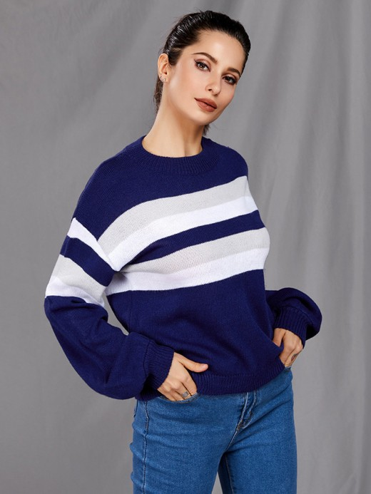 Exquisite Blue Drop Shoulder Stripe Paint Sweater Online Fashion