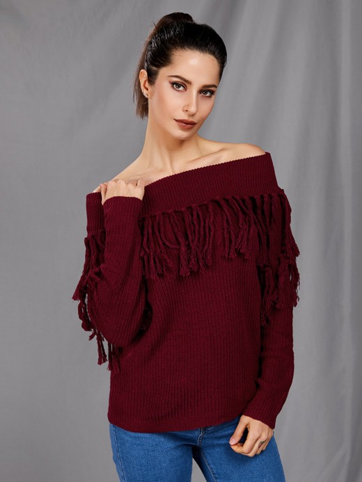Explicitly Chosen Wine Red One Shoulder Sweater Tassel Solid Color Fashion