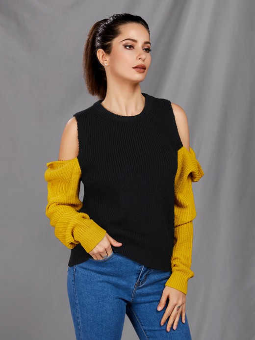 Marvelous Black Patchwork Sweater Cold Shoulder Crew Neck Pullover