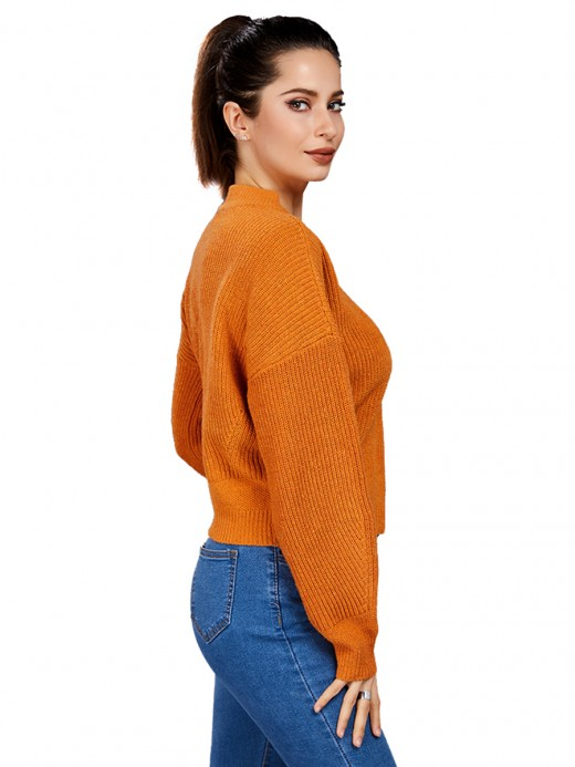 Simply Chic Light Tan Crew Neck Drop Shoulder Loose Sweater
