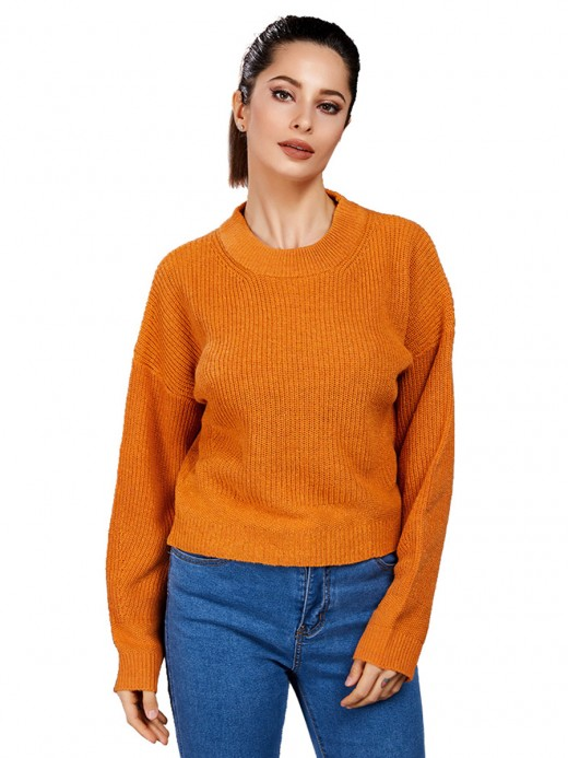 Simply Chic Light Tan Crew Neck Drop Shoulder Loose Sweater Classic Clothing