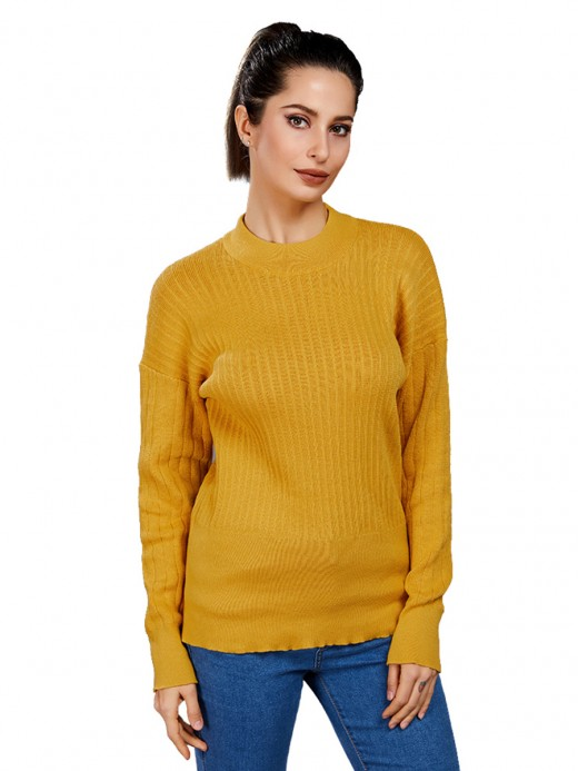 Woman Yellow Solid Color Sweater Full Sleeve Fashion Forward