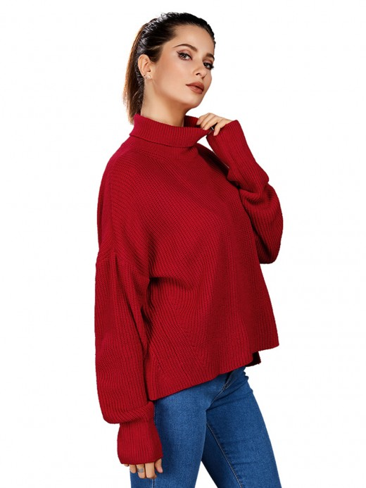 Comfortable Red Sweater High Collar Solid Color Trendy Clothes