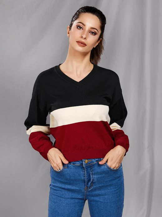 Extraordinary V-Collar Patchwork Knit Sweater Tops For Women