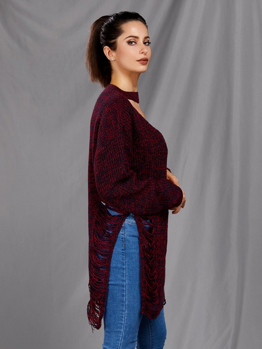 Exotic Dull Red Hollow Out Side Slit Sweater V Neck Feminine Confidence