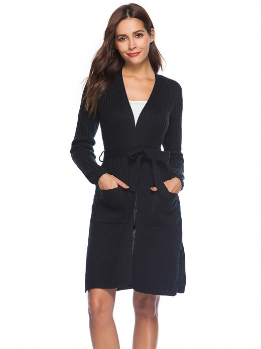 Refreshing Black Mid-Length Side Pockets Cardigan Slit Soft-Touch