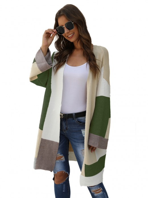 Ingenious Green Full Sleeve Open Front Cardigan Quality Assured