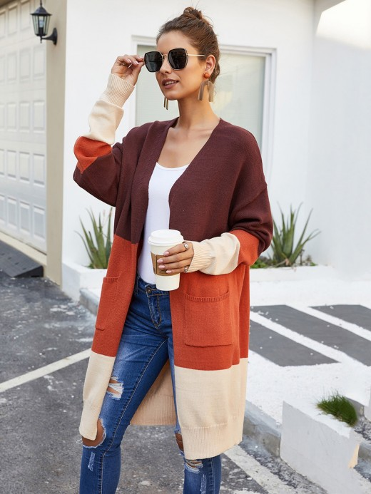 Romance Orange Midi Length Full Sleeve Cardigan For Women