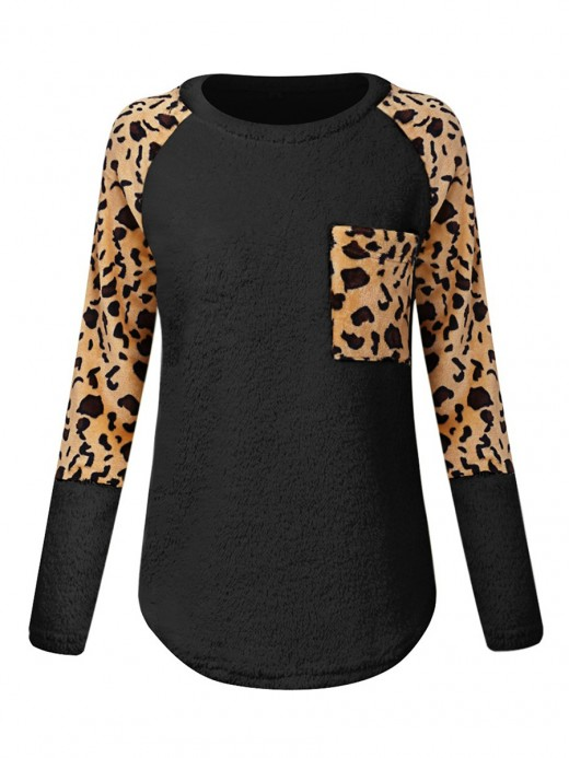Innovative Black Leopard Print Long Sleeve Sweater For Street Snap
