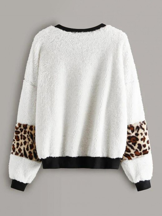 Perfectly Bishop Sleeve Sweater Leopard Print Comfort Fashion