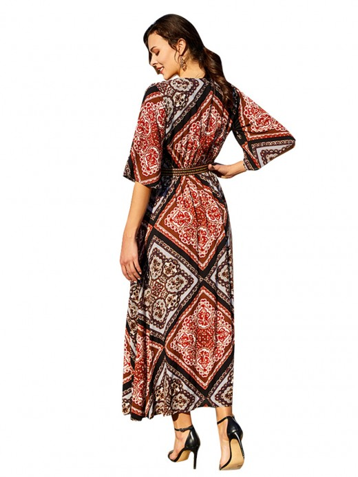 Bewitching Geometric Print Cardigan Half Sleeve For Women