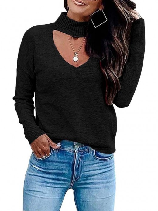Unvarnished Black Hollow Out High Neck Knitted Sweater Splendid Look