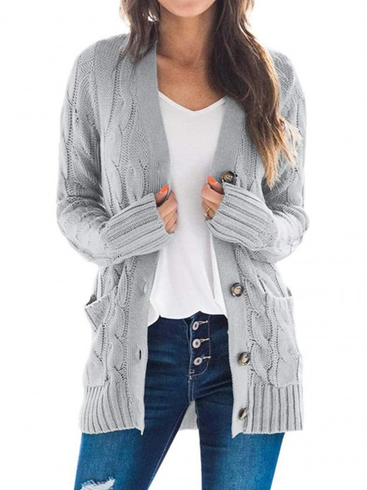 Ladies Gray Full Sleeve Button Cardigan Pockets Sale Online
