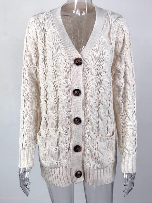Off-White Full Sleeve Cardigan Side Pockets Button On-Trend Fashion