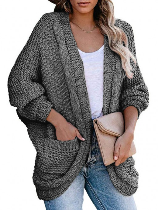 Modern Dark Gray Knit Sweater Solid Color Open Front Fashion Essential