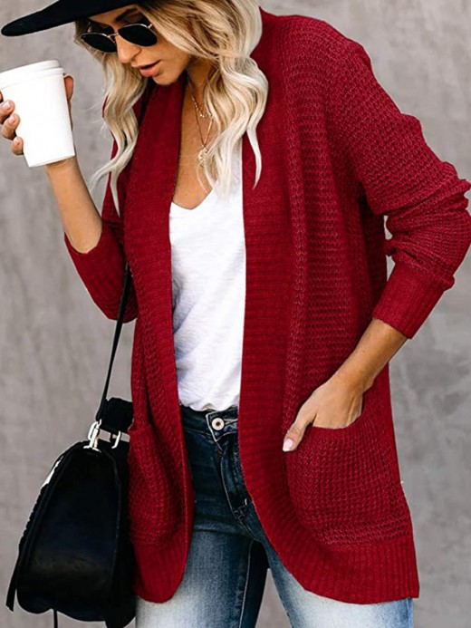 Wine Red Pockets Knit Coat Open Front Solid Color Fabulous Fit