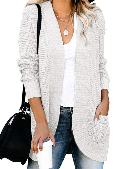 Spring White Open Front Cardigan Solid Color Leisure Time