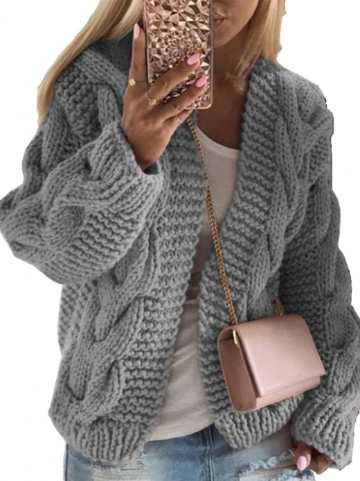 Creative Gray Drop Shoulder Full Sleeve Knit Coat Fashion Design