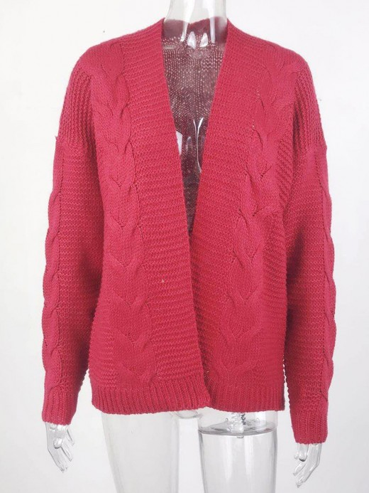 Feminine Wine Red Open Front Knit Sweater Solid Color Versatile Item
