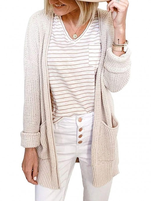 Delightful Apricot Long Sleeve Knit Solid Color Cardigan Super Faddish