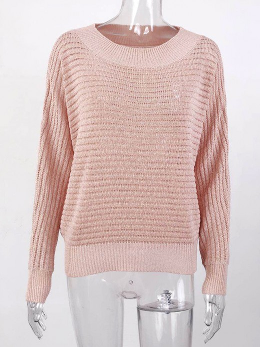 Entrancing Pink Round Neck Batwing Sleeve Knit Sweater For Beauty