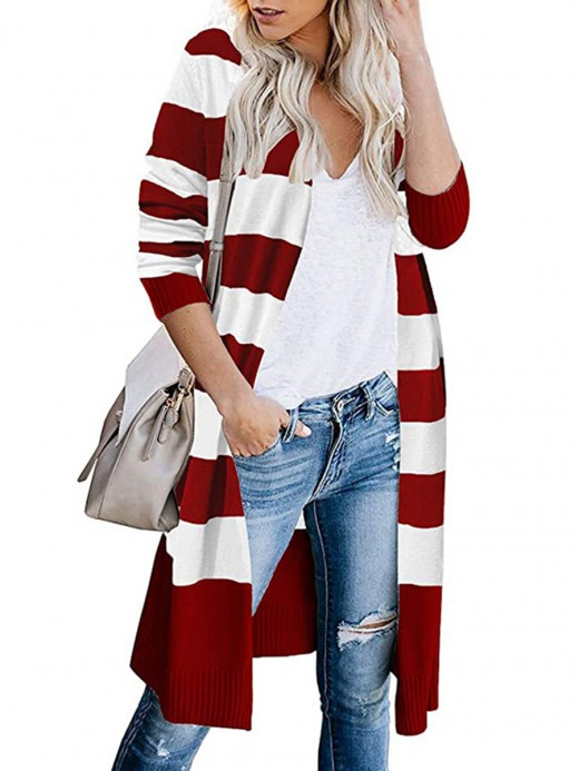 Fantastic Red Long Sleeve Cardigan Stripe Printed Feminine Fashion Style