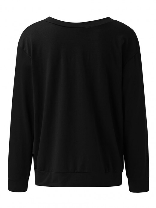 Innovative Black Full Sleeve Dew Shoulder Print Sweatshirt Elastic Material