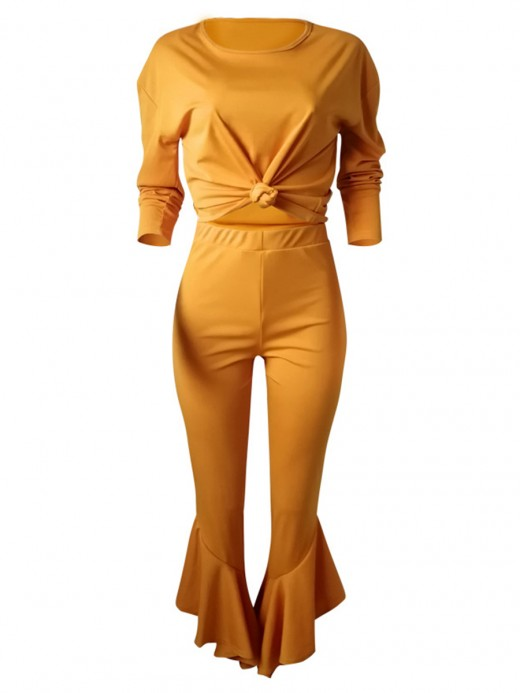 Orange Ruffle Trim Pants Full Sleeve Shirt For Every Occasion