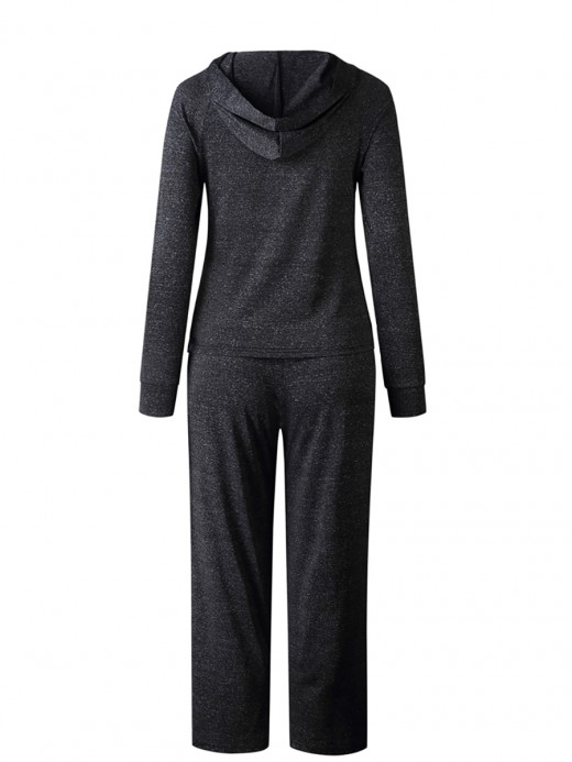 Tailored Deep Gray Hooded Neck Top Suit Full-Length Casual