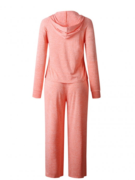 Plain Orange Full Length Two-Piece Hooded Neck Fashion