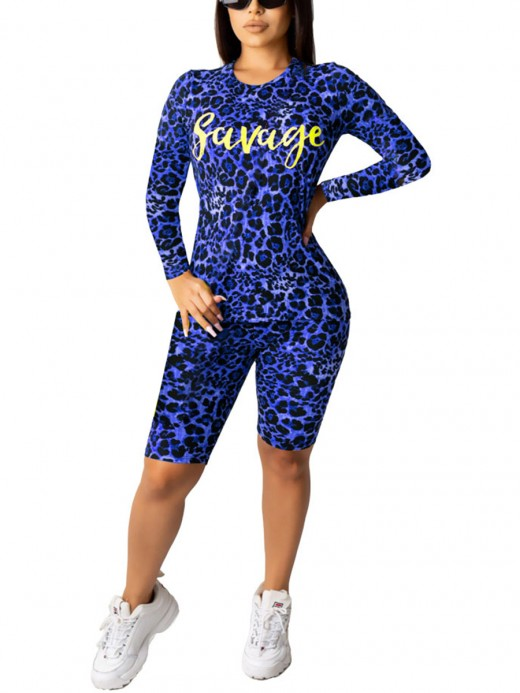 Romance Sapphire Blue Round Neck Leopard Printed Sweat Suit Fabulous Fit