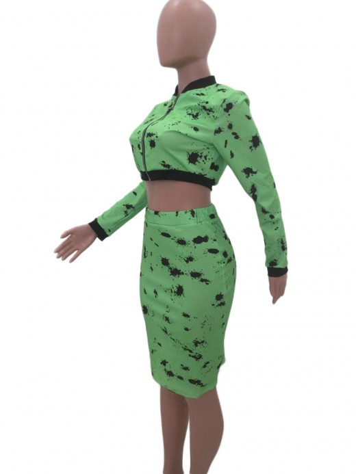 Bewitching Green Crop Jacket High Rise Skirt Two Pieces At Great Prices‎