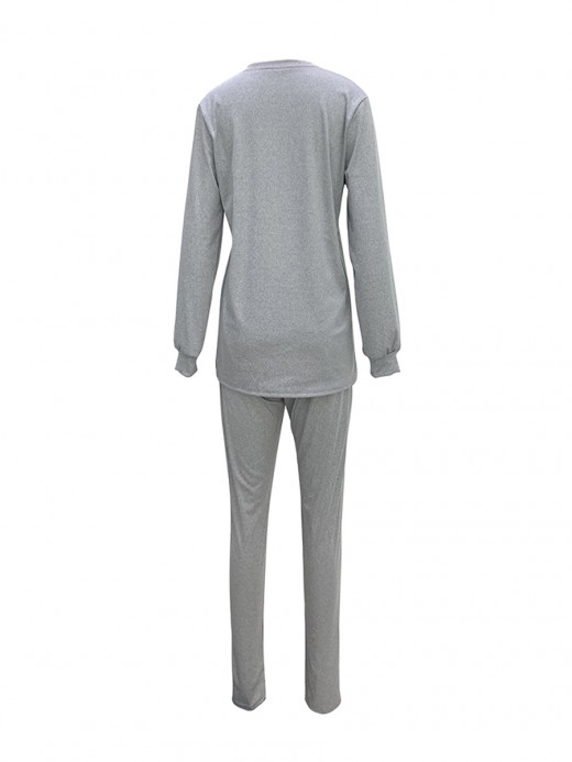 Impeccable Gray Round Neck Two-Piece Suit Full Length All-Match Style