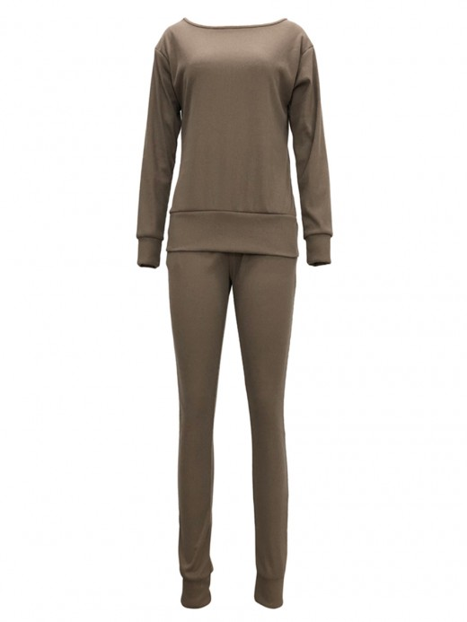 Maiden Khaki Wide Hem Top Full Length Pants On-Trend Fashion