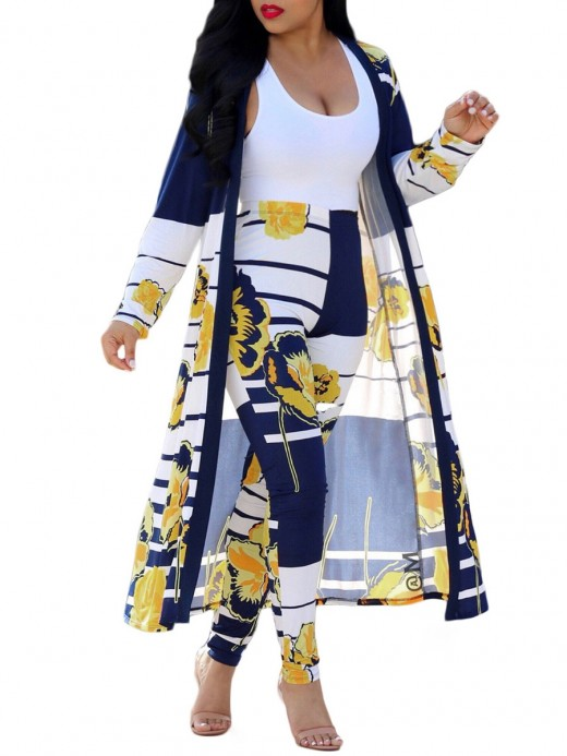 Eye-Appealing Queen Size Patchwork Cardigan And Pants Online Wholesale