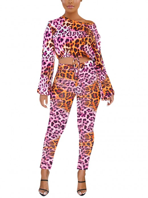 Inspired Pink Poet Sleeves Leopard Pattern Suit For Camping