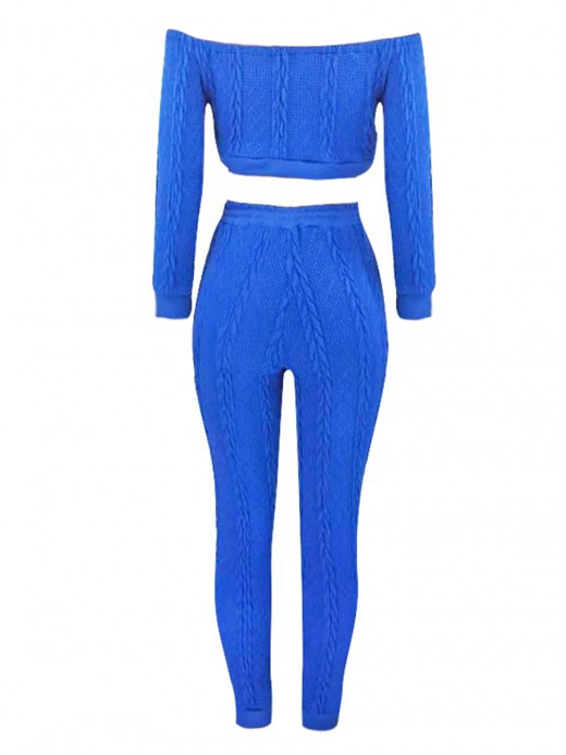 Multi-Function Royal Blue Off Shoulder Sweater Full Length Pants